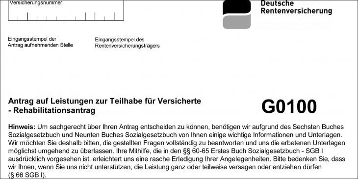 Antrag zur stationären Rehabilitation über die Rentenversicherung (G0100, Auszug) - Ich und MS